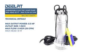Submersible Electric Sump Pump - Max Head 60 FT (18 M) - Max Flow 26 GPM (6 m3/h)