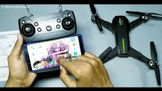 Folding RC camera Drone Unboxing & Testing Transmitter or APP control WiFi FPV HD