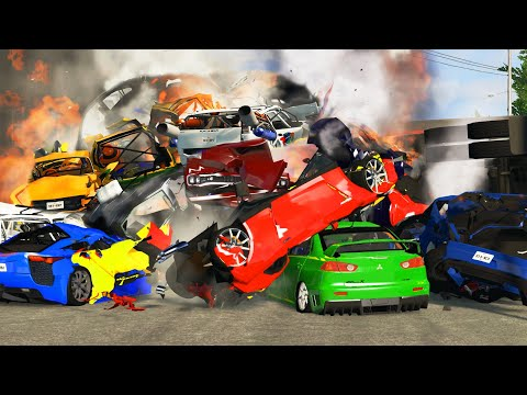 BeamNG Drive - 30 cars Pile up Crashes
