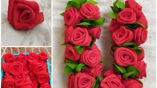 How To Make Fabric Cloth Roses | Rose Flowers Making With Waste Clothes| Easy/beautiful Clothflowers