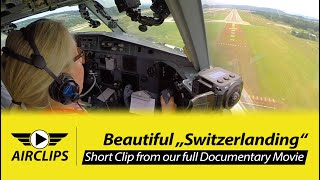Captain Sandra BUTTERS LAST EVER Helvetic Fokker F100 Pax-Flight Landing, WATER SALUTE!!! [AirClips]