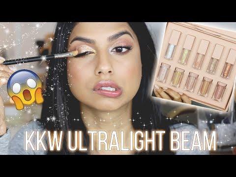 KKW Beauty Ultralight Beam Highlight + Lip Glosses Review & Demo on Medium Skin