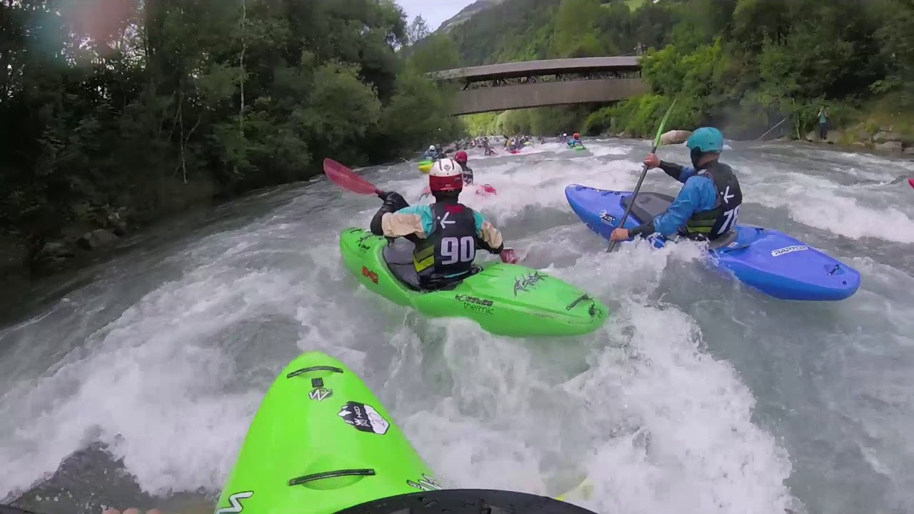 Students white water kayaking in Slovenia and Italy