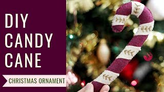 DIY Felt Candy Cane Christmas Ornament | Holiday Craft Ideas