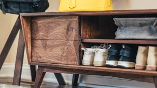 Building A Modern Entryway Shoe Bench || How To Build - Woodworking