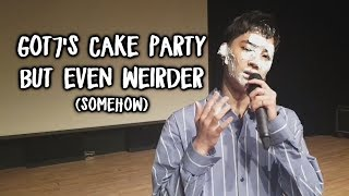 Got7's cake party but every time they're weird a Got7 meme appears