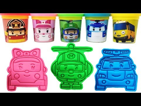 Play-Doh Molds & Toys Robocar Poli Learn Colors for Kids Tayo Amber Helly Roy Poli