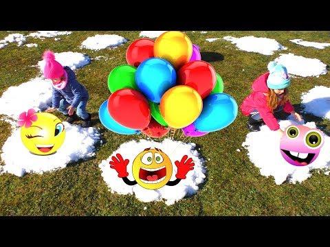 Лопаем воздушные Шарики с водой и краской. Дети на 7 небе от счастья