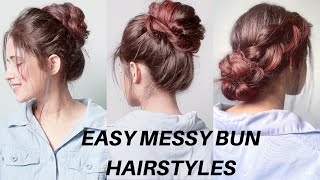 4 Easy Messy Bun Hairstyles For Long, Short Hair, For College, Office, Parties | Anukriti Lamaniya