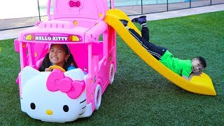 Wendy Pretend Play with The Wheels On The Bus Song Hello Kitty Toy