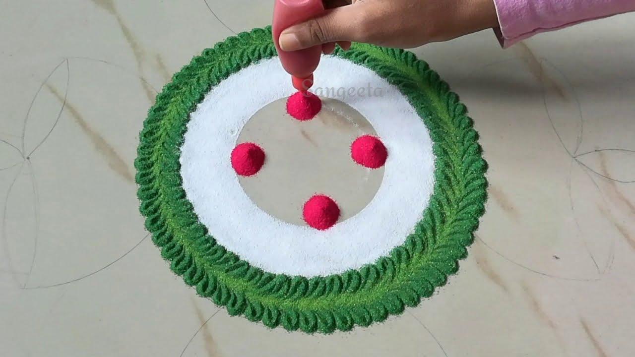 simple navaratri rangoli design using spoon by ks kitchen & lifestyle