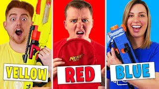 Using Only ONE Color in GIANT Nerf MYSTERY BOX Challenge!