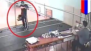Смотреть онлайн Ученик застрелил своего тренера в спортзале