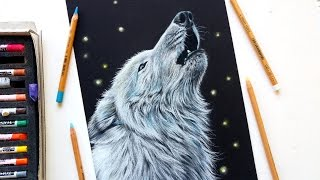 Drawing a white wolf with pastel pencils   Leontine van vliet