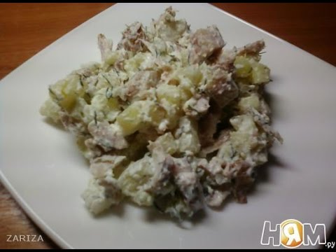 Салат Айвенго из копченой курицы с картофелем  Рецепт салата