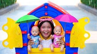 Rain Rain Go Away Song - Playing with Umbrellas #2