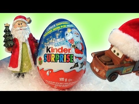 BIG Kinder Surprise MAXI Egg-Christmas 2013 Holiday Edition-McQueen,Tow mater,Santa-MsDisneyReviews