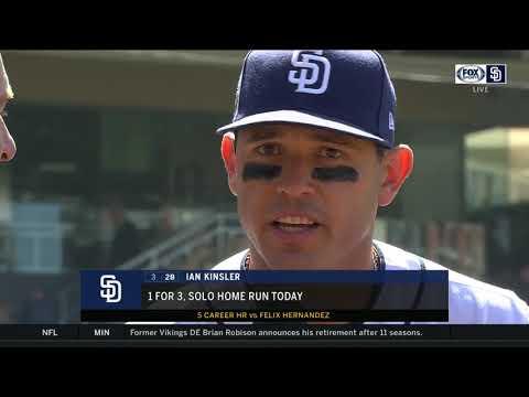 Ian Kinsler talks after the Padres 1-0 win