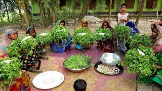 Pea Shoots & Hilsa/Elish Gravy Mashed Prepared By Village Women - Tasty Pea Spinach Mashed