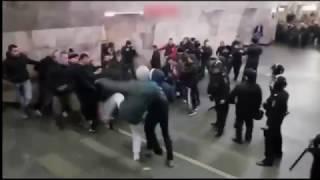 Драка на станции метро Новокузнецкая в Москве между фанатами | Спартак - ЦСКА