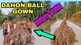 DIY BALL GOWN NA GAWA SA DAHON NG SAGING