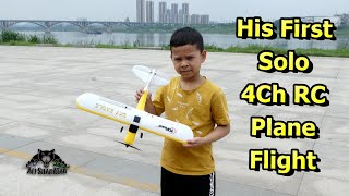 9 years old First Solo 4Ch RC Airplane Flight Smooth Landings