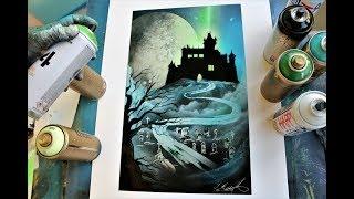 Halloween Spooky Castle - SPRAY PAINT ART By Skech