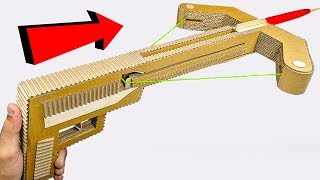 How to make Crossbow GUN from cardboard DIY at HOME easy for KIDS