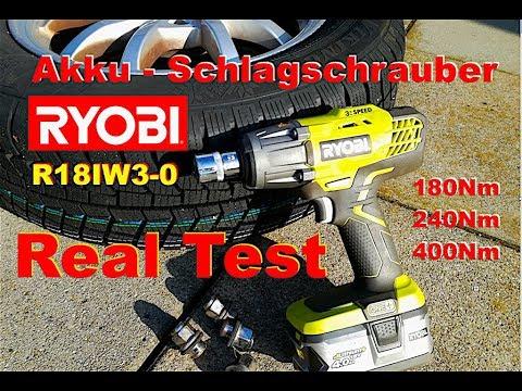 Test Radmuttern lösen Ryobi Akku Schlagschrauber set