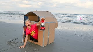 BOX FORT AT THE BEACH OVERNIGHT CHALLENGE!! (OCEAN MONSTER SPOTTED)