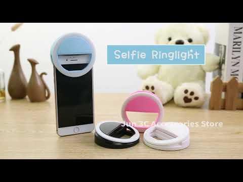 Кольцевая лампа для селфи универсальная светодиодная с аккумулятором Selfie LED Light черная (SL-20068) Video #1