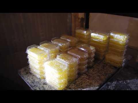 Сотовый мед в упаковке от пчел. Автоматика процесса.