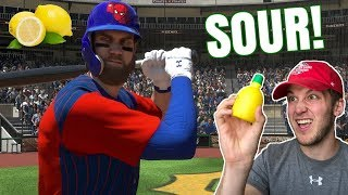 SOUR LEMON JUICE CHALLENGE! WE LOST TO SPIDERMAN? MLB THE SHOW 18 BATTLE ROYALE