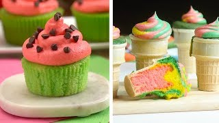 8 Hacks to Create Sweet Treats!   Colorful Ice Cream Cupcakes and Chocolate Desserts by So Yummy