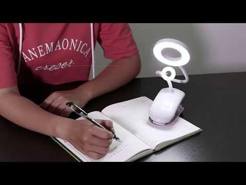 Настольная ЛЕД лампа на прищепке кольцевая с аккумулятором 2000 mAh Clip Lamp белая (CL-18544) Video #1