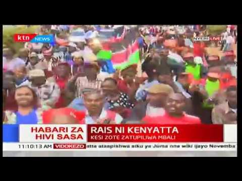Nyeri residents celebrate the upholding of Uhuru Kenyatta's presidency