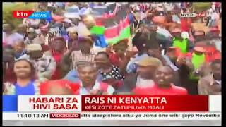 Nyeri residents celebrate the upholding of Uhuru Kenyatta
