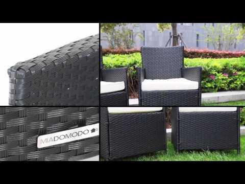 Miadomodo Rattanstuhl Polyrattan Stuhl ideal für Garten RTST04