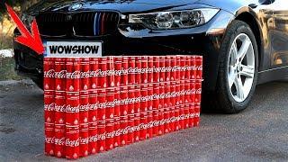 EXPERIMENT: CAR vs 100 Coca Cola Cans