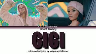 Rina ft. Sin boy - Gigi ( Colour Coded Lyrics Gr)