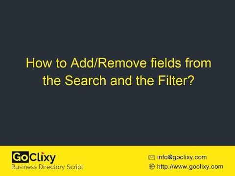 GoClixy - How to Add/Remove fields from the Search and the Filter?