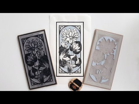 Two-color linocut printmaking with key block and registration jig, by Maarit Hänninen