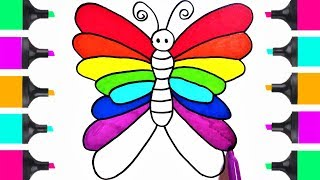 How To Draw Beautiful RAINBOW Butterfly | Coloring Book Tutorials For Kids  | Learn Art Easy