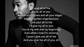 John Legend   All Of Me   Lyrics [ 1 Hour Loop   Sleep Song ]