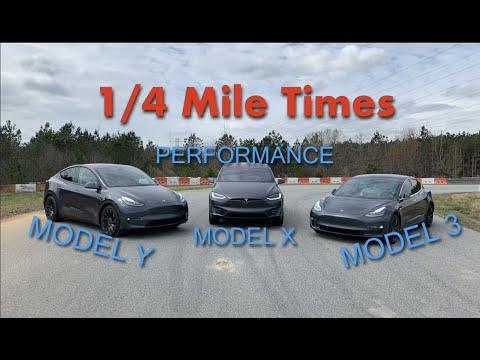 """Tesla Model Y drag races Model X """"Raven"""", and Model 3 in 1/4-mile test"""