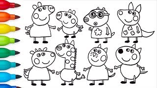 How to Draw Peppa Pig and Friends | Drawing and Coloring for Kids