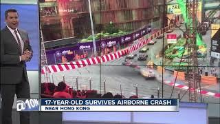 Teen race car driver survives horrific crash