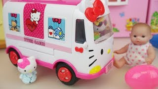 Hello Kitty  car and Baby doll with surprise eggs toys play