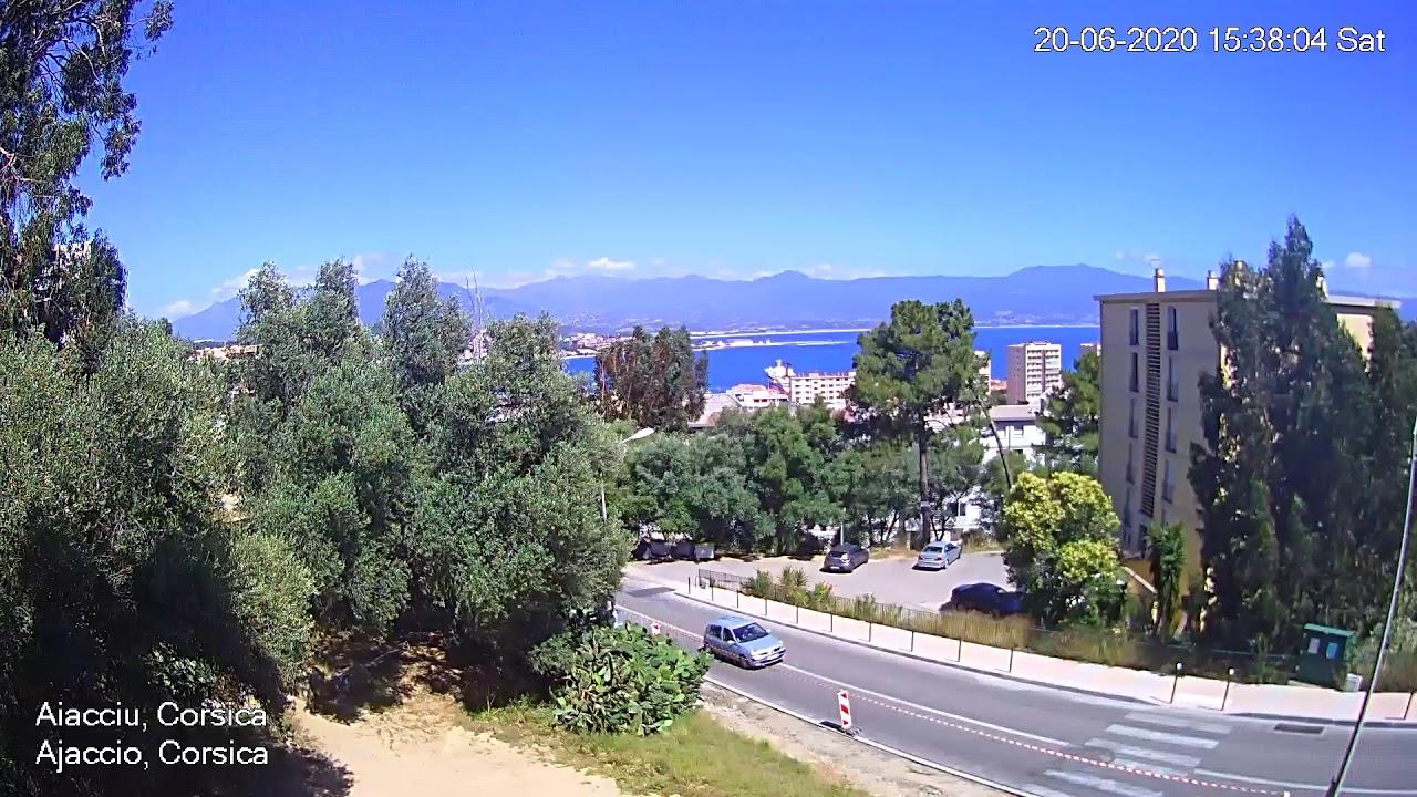 Webcam à Ajaccio (Aiacciu) en Corse (Corsica) avec vue sur le littoral méditerranéen