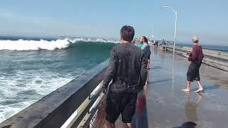 Big wave wets tourist funny